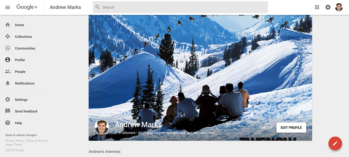 Andrew Marks' Google+ profile